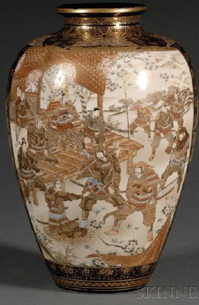 Satsuma Pottery Japanese Meiji Kinkozan Vase Samurai In Garden Amp Buddhist Figures 11 Inch
