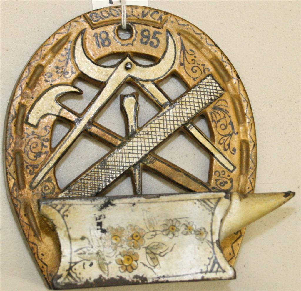 Cast iron Horseshoe match holder, Good Luck 1895