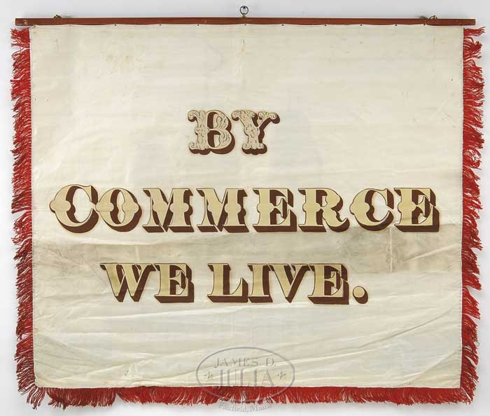 "Ship Builders silk trade banner ""By Commerce we Live"""