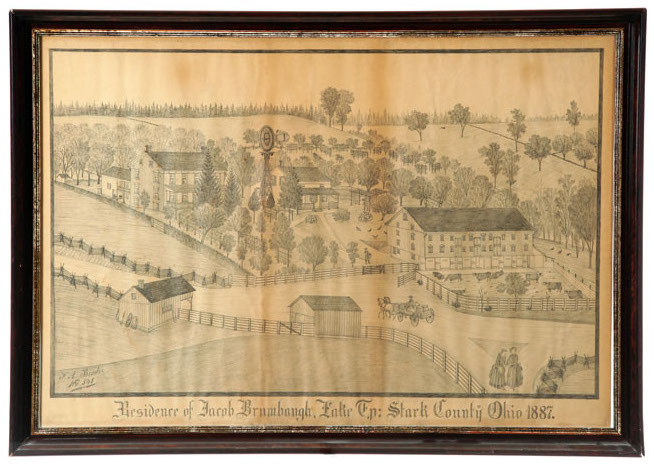 A drawing by Ferdinand Brader, farm scene, numbered 541 and titled below Residence of Jacob Brumbaugh, Lake Tp: Stark County, Ohio 1887