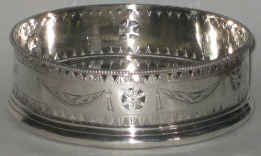 A Hester Bateman, London, 1788 George III silver wine coaster with chased and pierced in Adam style gallery