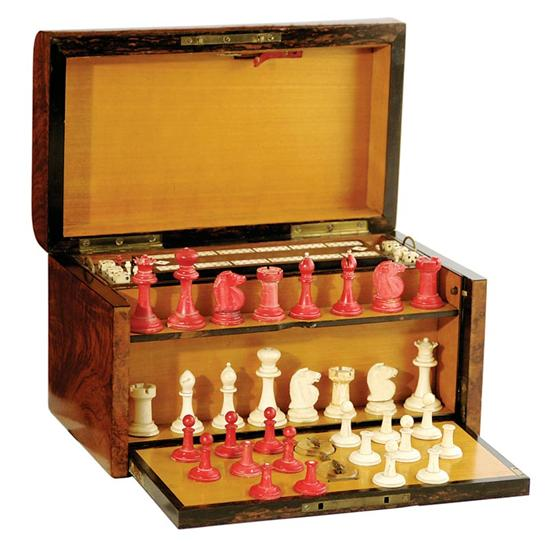 English Wedgwood & Son burl walnut game box or compendium with chess set, cribbage board and checkers