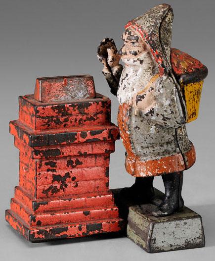 19th century Shephard Hardware Co. cast iron Santa Claus bank