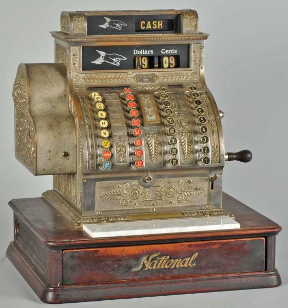 cash register  national  model 442  tape receipt  wood