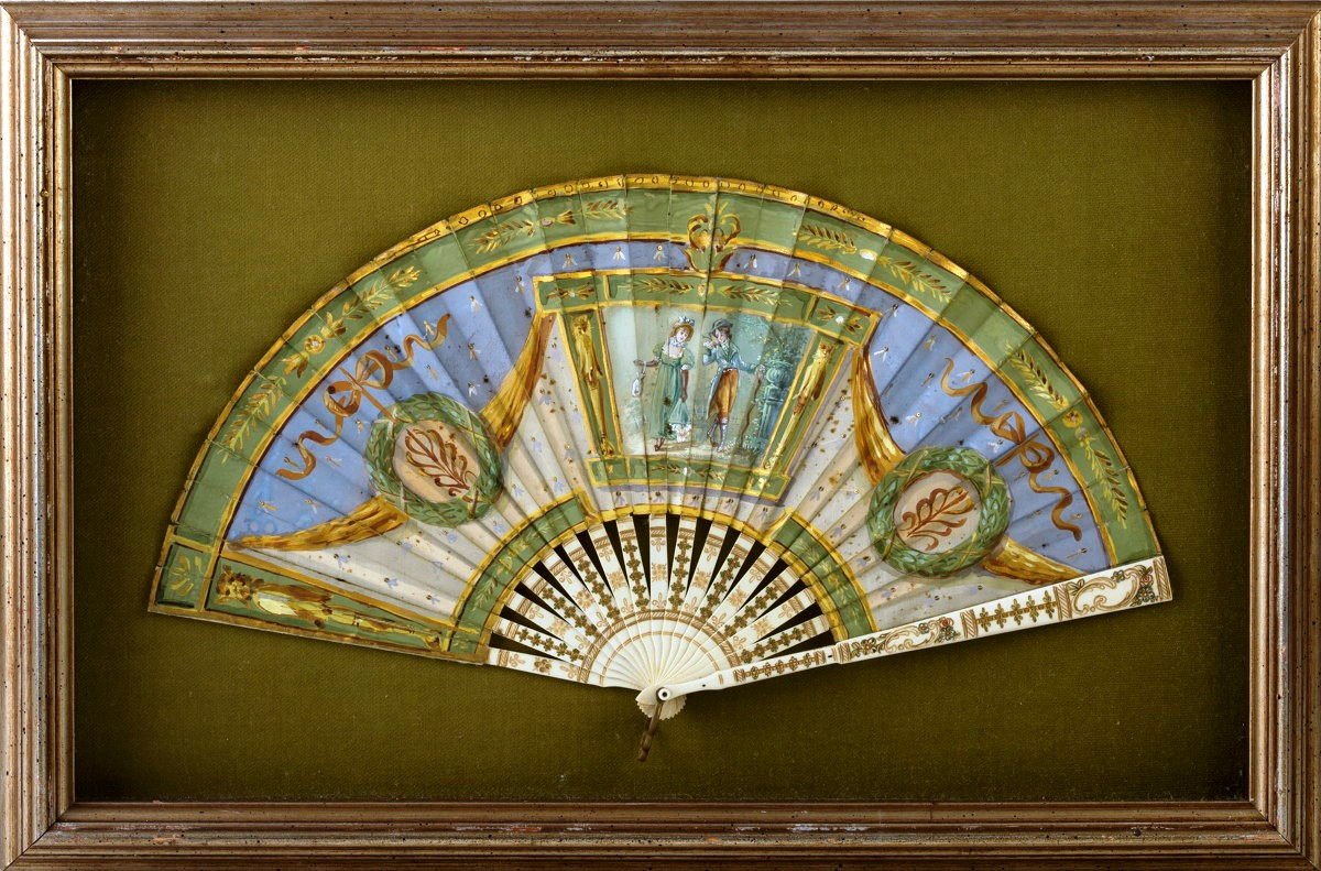 19th century finely-painted and gilt silk and ivory Neoclassical folding fan