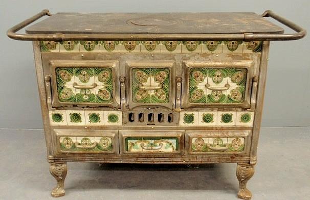 Stove Belgian Wood Cast Iron Green Rose Amp Ivory Tiles