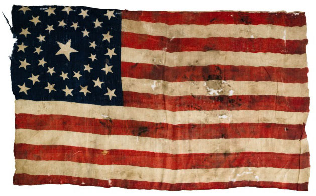 34 star American flag carried into the Civil War battle of Shiloh by William Shallenberger