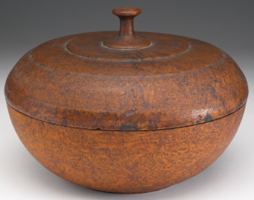 An exceptional large ash burl covered bowl, North America, circa 1780.