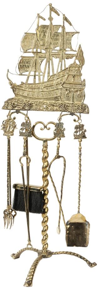 Fireplace Tools   Brass Sailing Ship Stand Don Fernando ...