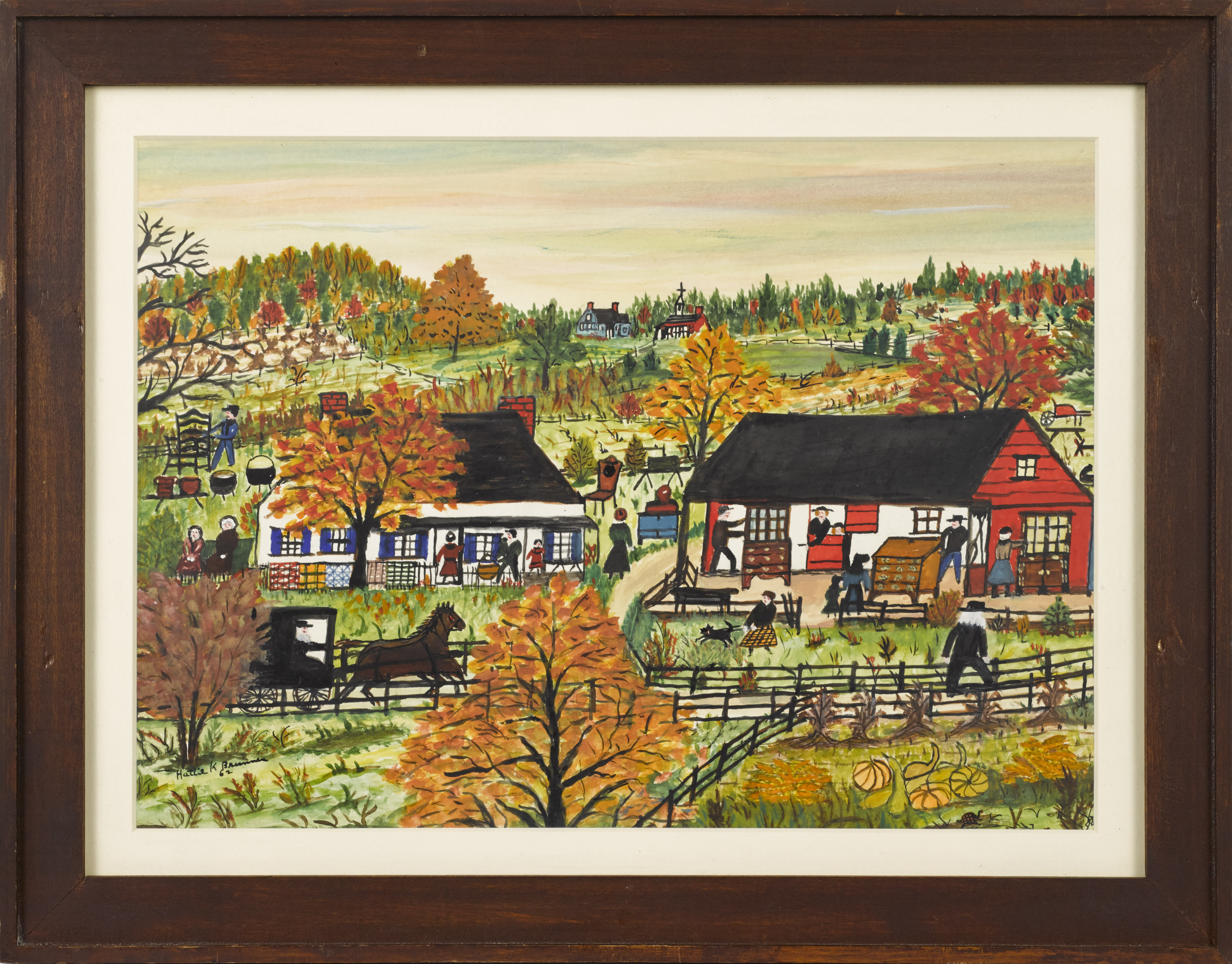 Hattie Klapp Brunner (American, 1889-1982) watercolor and gouache on paper painting, fall Amish auction scene, signed and dated '62 in lower left.