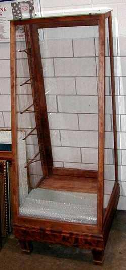 Display Case Floor Oak Slant Front 5 Shelves 5 Ft