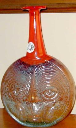 Art Glass Kosta Boda Engman Kjell Vase Orange Neck