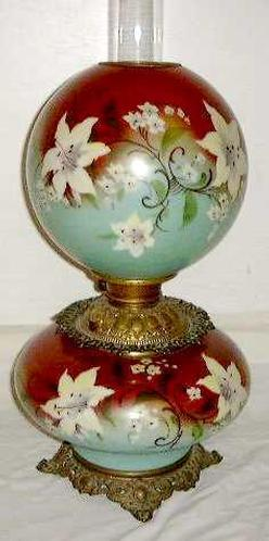 Parlor Lamp Victorian Green Amp Red Hand Painted Font Amp Globe