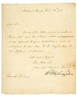 Als Washington George Letter Accompaning Plough Mt