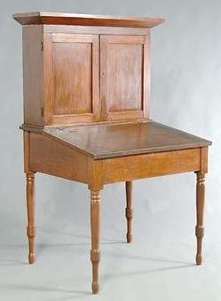 Furniture: Desk-Plantation; 2 Piece, Pine & Poplar.