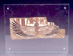 An Egyptian cartonnage fragment, Ptolemaic period, 304 to 30 B.C., painted with the outstretched wings of the goddess Nut.