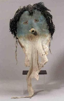 Mask Navajo Yeibichai Dancer Hide Gourd Animal Hair 32