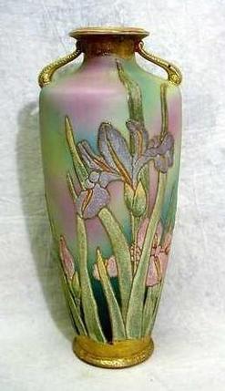 Nippon Porcelain Coralene Vase Cylindrical Iris