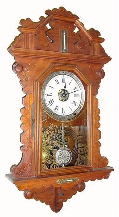 Wall clock seth thomas gingerbread walnut 28 inch for Seth thomas wall clocks value