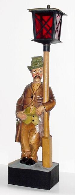 Novelty Lamp Posts : Novelty Clock; German, Whistling Drunk, Lamp Post, 19 inch.