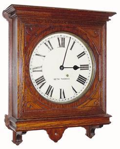 Wall clock seth thomas office no 5 8 day oak 24 inch for Seth thomas wall clocks value