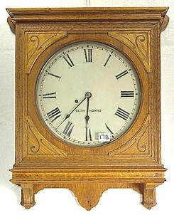Wall clock seth thomas carved oak case 8 day 23 inch for Seth thomas wall clocks value