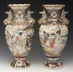 Satsuma Pottery Japanese Vase 2 Scenes Of Maidens Gilt Serpent Handles