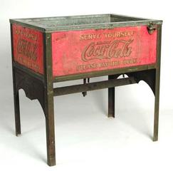 Coca Cola Cooler Glascock Double Case On Stand 38 Inch