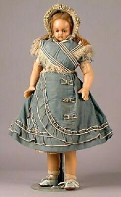 Wax Doll; Montanari, Poured, Child, Cobalt Set Eyes, Inset ...