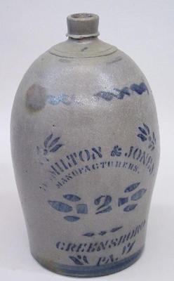Stoneware Hamilton Amp Jones Jug Ovoid Blue Stenciled