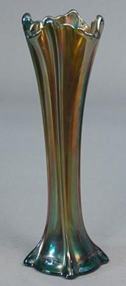 Carnival Glass Vase Advertisement For Howard Furniture Co Green