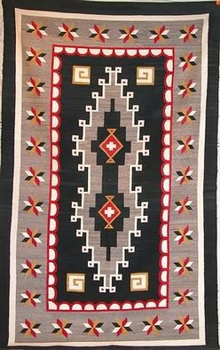 Weaving Navajo Two Grey Hills Star Border 9 Feet