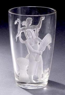 Verlys Glass Vase Figures Of Women Summer Amp Fall 8 Inch