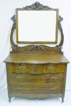 Furniture Suite Bedroom Victorian Golden Oak Aulsbrook Sturgis Dresser Bed 2 Pieces