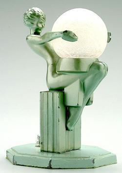 Desk Lamp American Art Deco Frankart Seated Female Nude Satin