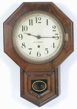 Wall clock seth thomas drop octagon 8 day mahogany 21 for Seth thomas wall clocks value