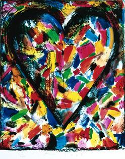 antiques price guide, antiques priceguide, works on paper, America, A color lithograph by Jim Dine (American, born 1935). The Confetti Heart I, 1985, pencil signed, dated and numbered 87/400 in the margin.