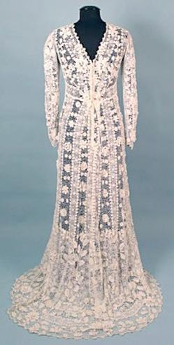 Dress Wedding Irish Crochet Long Sleeves Train Unlined White