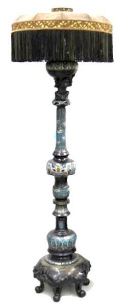 Floor Lamp Oriental Bronze Cloisonne Silk Shade 72 Inch