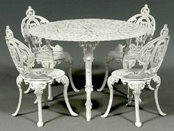 A Five Piece Set Of Cast Iron Garden Furniture By Atlanta Stove Works;  Image Credit On Full Record.