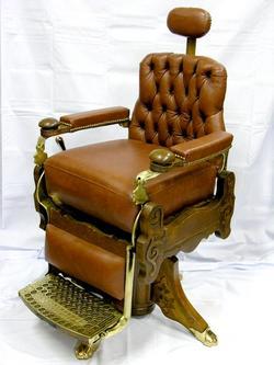 Barber Chair Berninghaus Hercules Oak Brass Restored