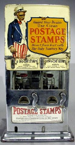 Vending Machine; US Postage Stamp, Uncle Sam Marquee ...