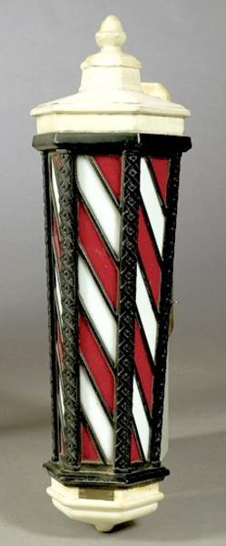 Barber Pole Koken Wall Mount Electric Slag Glass 33 Inch
