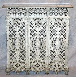 Radiator cover victorian cast iron marble top white - Cast iron radiator covers ...