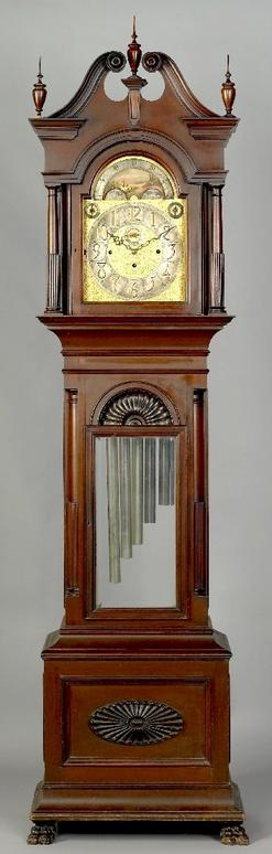 Tall Case Clock Connecticut Chippendale Style Bailey Banks Biddle Mahogany Broken Arch 103 Inch