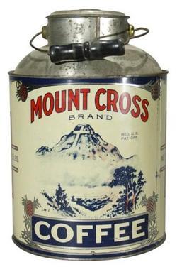 Tin Coffee Mount Cross Brand Milk Pail 5 Pound 10 Inch