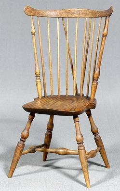 A Brace Back Windsor Side Chair, With Plank Seat And Possibly Ash Or  Chestnut, Maple U0026 Oak Spindles; Image Credit On Full Record.