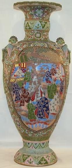 Satsuma Pottery Japanese Vase Floor Figure Reserve 38