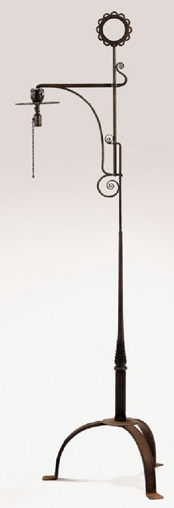 Floor Lamp | Yellin (Samuel) Wrought Iron Adjustable Pad Feet 82