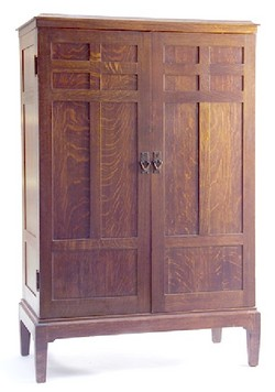 Bon A Gustav Stickley Oak Two Door Armoire With Paneled Doors And Sides,  Hammered Copper V Pulls And Interior Drawers And A Mirror; Image Credit On  Full Record.